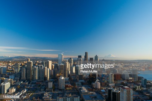 Aerial view of Seattle city skyline : Stockfoto
