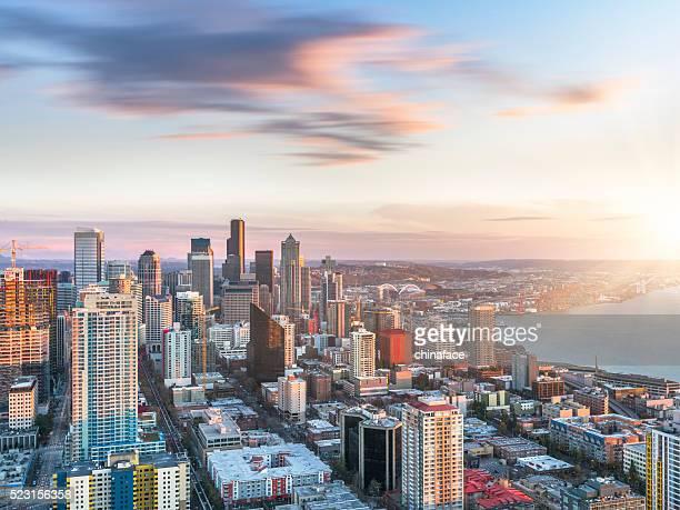 Vista aérea de Seattle, horizonte