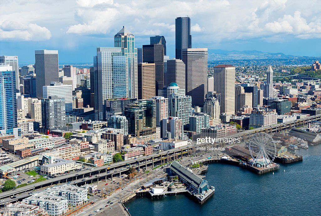 Aerial view of Seattle waterfront and ferris wheel, Washington State, USA