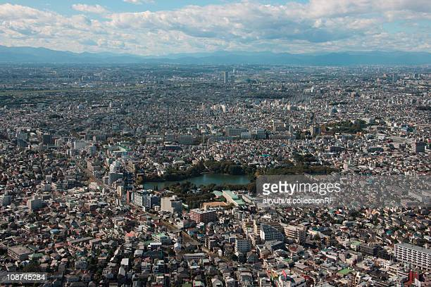 Aerial view of Senzoku pond, Ohta ward, Tokyo Prefecture, Honshu, Japan