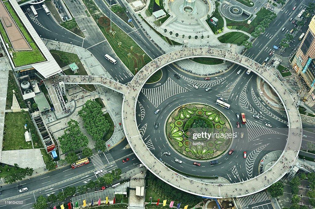 Aerial view of Shaghai traffic