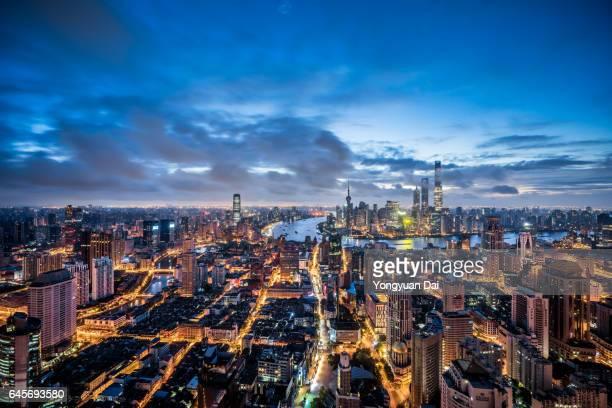 Aerial View of Shanghai at Dawn