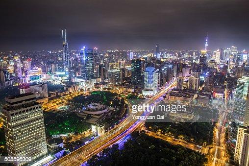 Aerial View of Shanghai at Night : Foto de stock