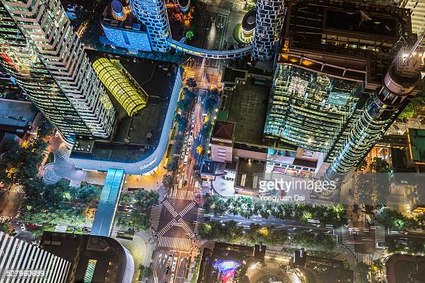 Aerial View of Shanghai at Night