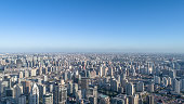 aerial view of Shanghai city in a sunny day. Nov 9, 2017 Shanghai, China.