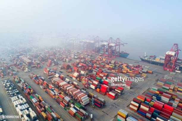aerial view of shanghai container terminal