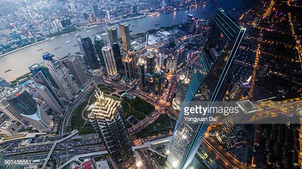 Aerial View of Shanghai During Sunset