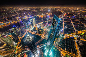 Aerial View of Shanghai Landmarks at Night