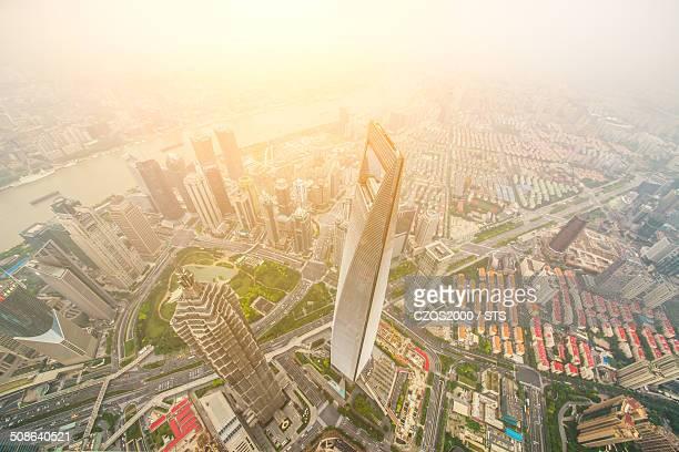 Aerial view of Shanghai landmarks