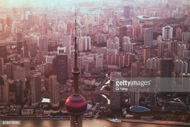 Aerial View Of Shanghai Oriental Pearl Tower, China