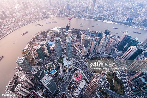 Aerial view of Shanghai skyline
