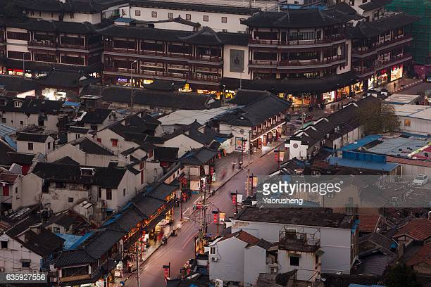 Aerial view of Shanghai street with old building blocks ,close to Yu Yuan Garden