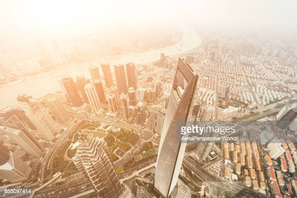 Aerial View of Shanghai Urban Skyline in sunshine
