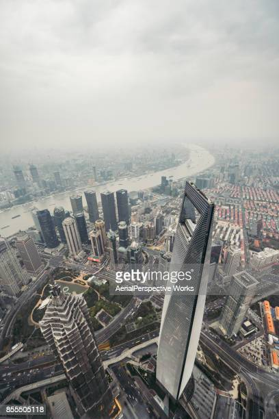 Aerial View of Shanghai Urban Skyline