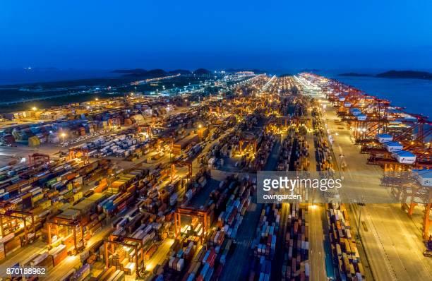 Aerial view of Shanghai Yangshan deepwater port at night
