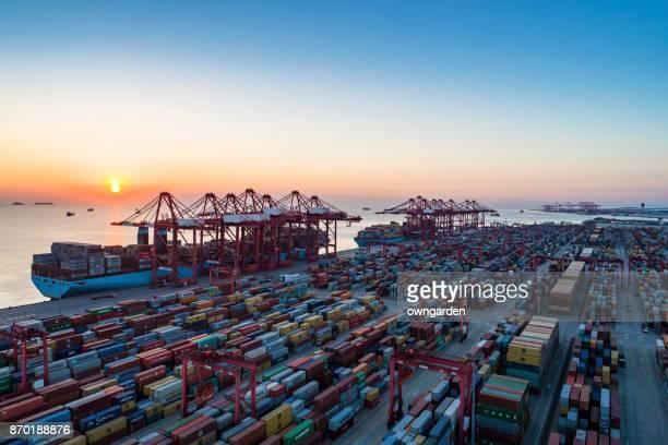 Aerial view of Shanghai Yangshan deepwater port at sunset