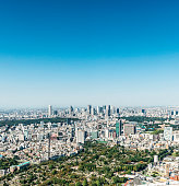 Tokyo aerial view from Roppongi Hills. Northwest views toward Shinjuku.