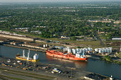 Aerial view of ship channel, Houston, Texas