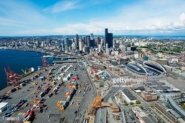 Aerial view of shipping harbour, Seattle, Washington State, USA