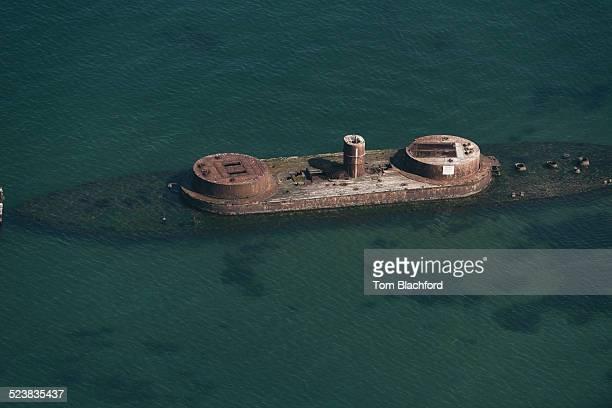 Aerial view of shipwrecked HMS Cerberus, St Kilda, Melbourne, Victoria, Australia