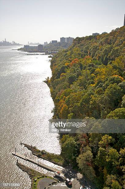 Aerial view of shoreline in fall with trees.