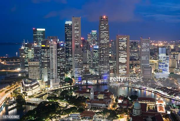 Aerial View of Singapore Skyline at Dusk