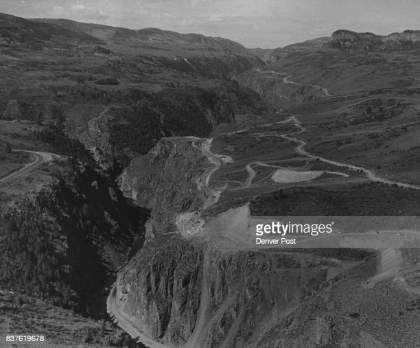 Aerial view of site for Blue Mesa dam of Curecanti constructed road at left Credit Denver Post