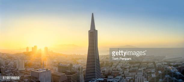Aerial view of skyscraper in San Francisco city skyline, California, United States