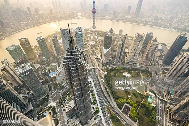 Aerial View of Skyscrapers in Shanghai