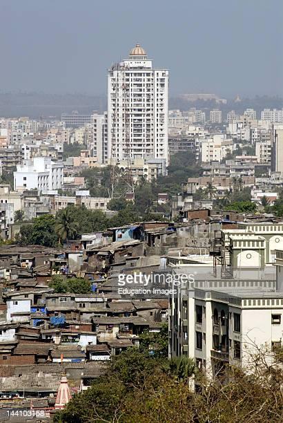 Aerial View Of Slums And Buildings From Mahatma Gandhi Point Sanjay Gandhi National Park Borivali At Bombay Mumbai Maharashtra India