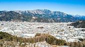 Aerial view of snow in winter at Yamanouchi in Nagano, Japan