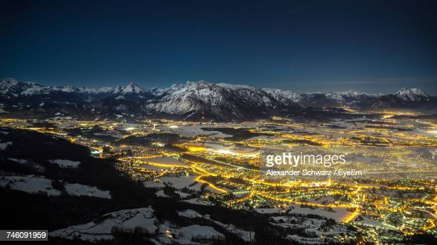 Aerial View Of Snowcapped Mountain At Night