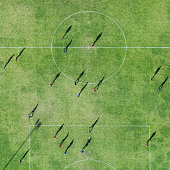 Aerial view of soccer field with players