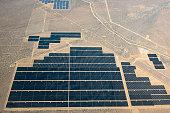 Aerial view of solar farm in remote landscape