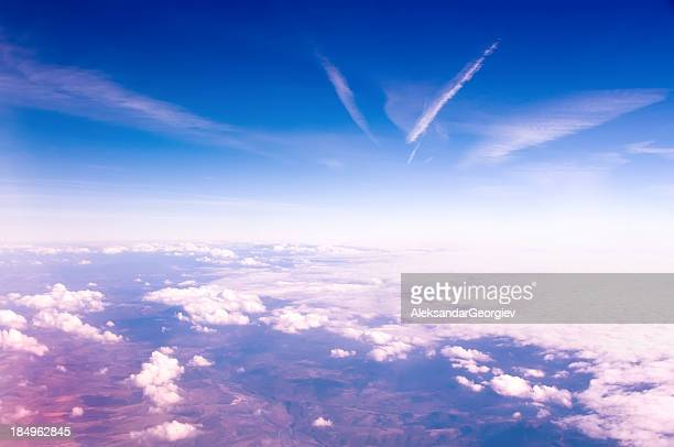 Aerial view of some white clouds against a blue sky