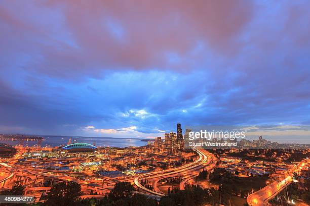 Aerial view of South Seattle and Interstate 5, Washington State