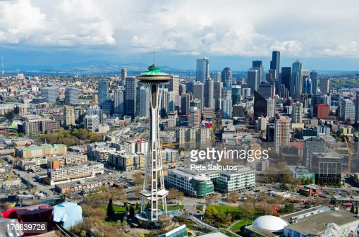 Aerial view of space needle Seattle, Washington State, USA