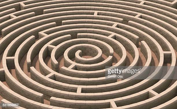 Aerial view of spiral stone maze