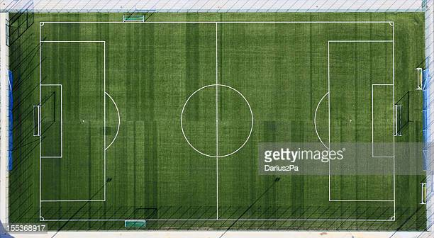 Aerial view of sports field with white markings