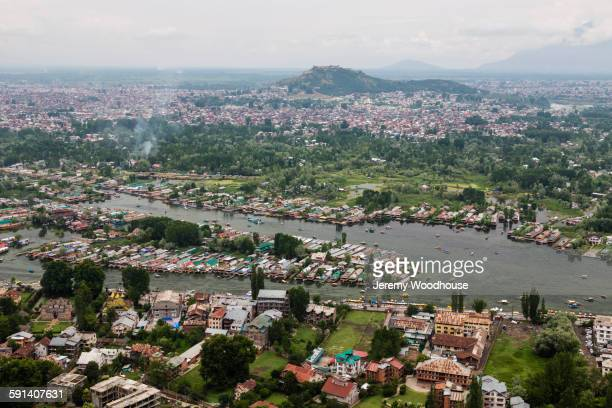 Aerial view of Srinagar cityscape and river, Kashmir, India