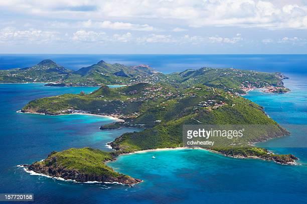 Vue aérienne de Saint-Barthélemy, français Antilles