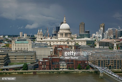 Aerial view of St Paul's Cathedral in London