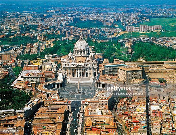 Aerial view of St Peter's Square and St Peter's Basilica Vatican City