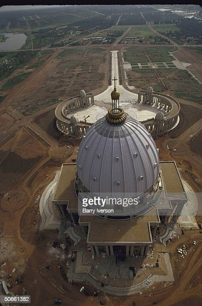 Aerial view of St Peter'slike Basilica of Our Lady of Peace pet project of Pres Felix HouphouetBoigny