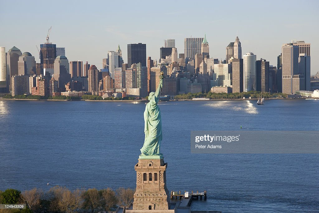 Aerial view of Statue of Liberty, New York, USA : Stock Photo