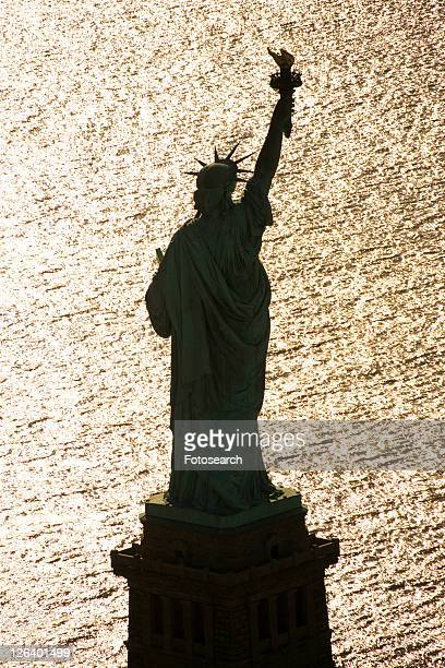 Aerial view of Statue of Liberty silhouette.