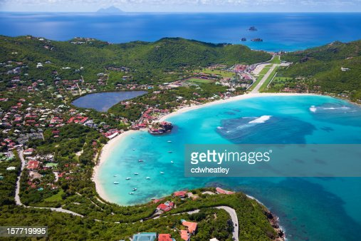 aerial view of St.Jean Bay, St. Barths, FWI