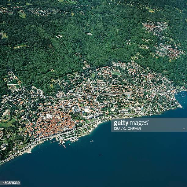 Aerial view of Stresa on Lake Maggiore or Verbano Piedmont Region Italy
