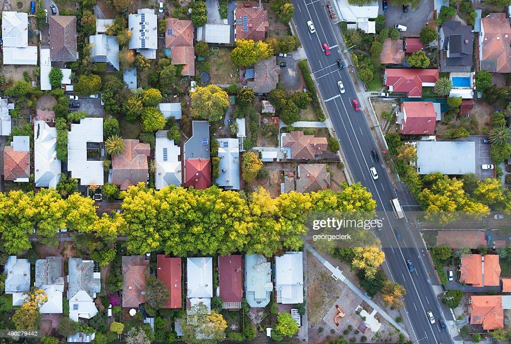 Vue aérienne de la banlieue : Photo