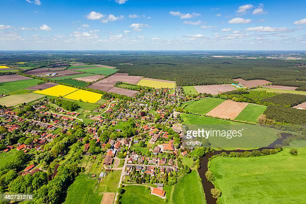Aerial view of suburban area and agricultural land in Germany